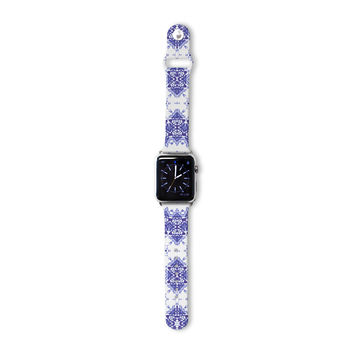 "Iris Lehnhardt ""M2"" Blue White Apple Watch Strap"