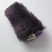 Clueless 90s Furry Cute Lighter Case Cover. Fluffy Bic Lighter Holder. Furries. Purple Faux Fur.