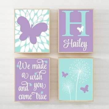 DANDELION BUTTERFLY Nursery Wall Art, We Made A Wish Quote, Baby Girl Decor, Bedroom Pictures, Canvas or Print, Set of 4 Decor Aqua Lavender