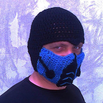 Crocheted Mortal Kombat Inspired Sub Zero Mask Hat Bicycle Winter Men Snowboard Ski Hat Costume hat