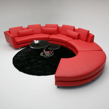 Divani Casa Red Circular Contemporary Leather Sectional Sofa & Ottoman
