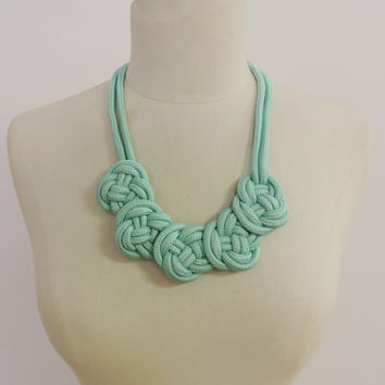 5 Knot Rope Necklace - Mint