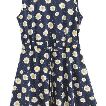 Sunflower Print Sleeveless Drawstring Mini Dress