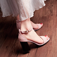 Design Stylish Summer Korean Leather Plus Size Shoes Sandals [4920243588]