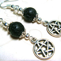 Wiccan Earrings Pagan Jewelry Pentacle Lava Rock Metaphysical Spiritual Witchcraft Jewelry Handfasting Pentagram Star Earrings Gift for Her