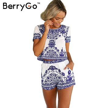 BerryGo  summer style porcelain print two piece jumpsuit romper Women short sleeve crop top playsuit female Vintage overall