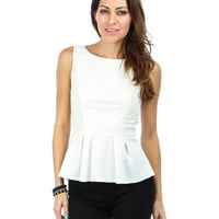WHITE FAUX LEATHER PEPLUM TOP