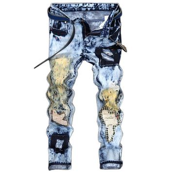 2017 New Design Men Ink Hole Patch Embroidery Jeans Personality  Straight Trousers Slim Fit Ripped Biker Fashion Pants