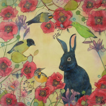 A Shadow in the Garden- l limited edition print of original mixed media painting