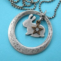 Rabbit Bunny Animal Silhouette Star Moon Pendant Necklace in Silver