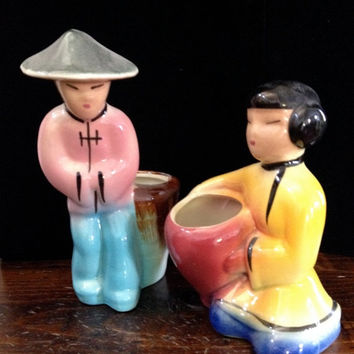 Vintage Ceramic Planters of an Adorable Asian Couple