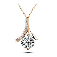 Hypoallergenic copper jewelry temperament Arrows zircon necklace clavicle chain classic wild section elegant pendants = 1958108228