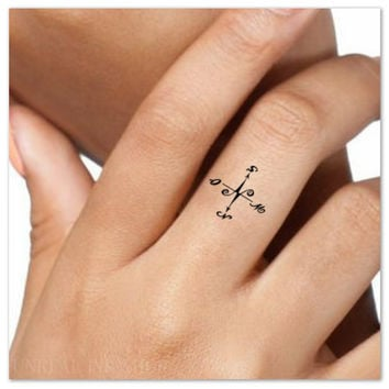 Temporary Tattoo Compass Finger Fake Tattoos Thin Durable