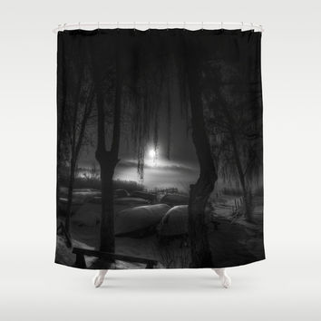Night of the living dead fishermen Shower Curtain by HappyMelvin