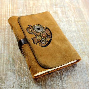 Clockwork  Suede Journal  Goldenrod Steampunk by MedievalJourney