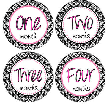 Monthly Onesuit Stickers Baby Month Stickers Girl Hot Pink Black Damask Monthly Onesuit Sticker Girl Baby Shower Gift Photo Prop -DamaskN