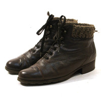 Lace Up Ankle Boots / Dark Brown Leather with Sweater Knit Lining & Cuff / Women's sz 7
