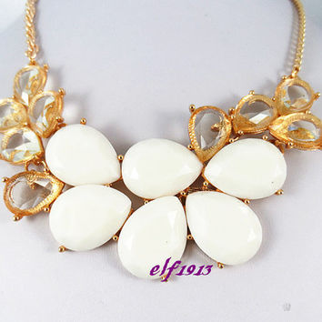 J. Crew Style Inspired Flower Bubble  Necklace ,Statement Necklace,bridesmaid gifts, bib necklace / white