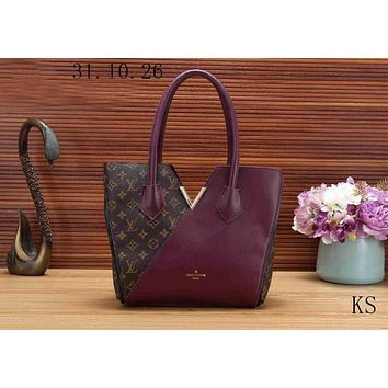 LV Louis Vuitton Trending Women Shopping Bag V Type Leather Shoulder Bag Handbag Purple I-KSPJ-BBDL