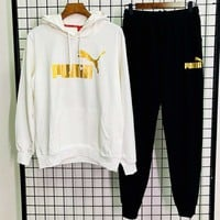 PUMA autumn and winter new trend men and women models outdoor sports and leisure two-piece White