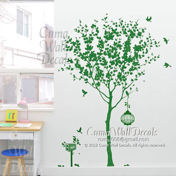 Vinyl wall decals tree wall decal birds birdcage wall decals nursery wall sticker children wall decals - tree birds birdcage Z128 Cuma