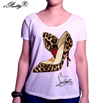 iPretty Fashion Summer Ladies Gigh-heeled Shoes Print t-shirt Female Bottoming Tee Tops Casual Short Sleeve Women's t-shirts