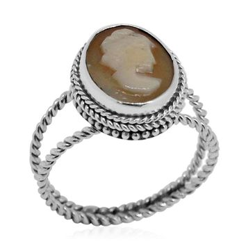 Artisan Cameo Sterling Silver Ring