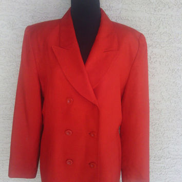 Red Silk Blazer suit coat jacket double breasted designer Valerie Stevens size 16 6 button front shoulder pads 80s vintage classic feminine