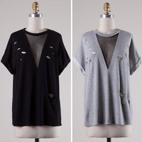 RWL BOUTIQUE - Distressed Shirt with Mesh Deep V Neckline - Ruffles with Love - RWL
