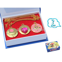 Anime Cartoon Sailor Moon Pretty Guardian Pretty Solider Golden Wing Heart Necklace 3pcs/set Free Shipping ANPD1428