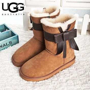 UGG Fashion Women Men Bow Flats Leather Boots Half Boots Shoes