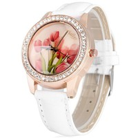 Ladies Quartz Watch Diamond Round Dial Leather Strap with Tulip Dial Face