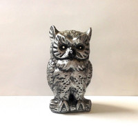 Vintage Owl Piggy Bank - Silver and Black Owl - Plastic - Gift for Her - For the Home - Cute Owl