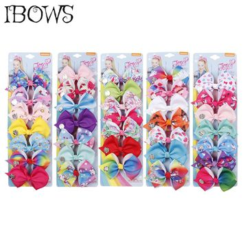 7 Pieces/Set Rainbow Flower Hair Clips Suit Lovely Unicorn Hair Bows For Girls Kids Gifts JO JO Bows Kawaii Hair Barrettes