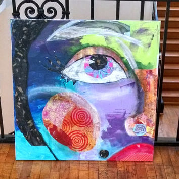 """Half Face Girl Art, Mixed Media, Mixed Media Art, Canvas Painting, Collaged Painting, Colorful Painting, Girl Art Canvas Print, 30x30"""""""