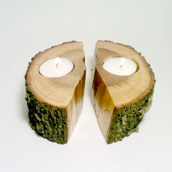 Split Log, Log Candle Holder, Log Centerpiece, Tea light Candle Holder, Rustic Centerpiece, Room Decor - SET OF 2