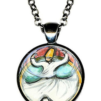 "Rumi Sufi Whirling Dervish 1"" Circle Gunmetal Pendant"