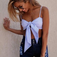 Mina striped Bow top