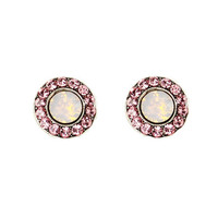 Anne Koplik Designs Rosewater Opal and Light Rose Swarovski Crystals Post Earrings
