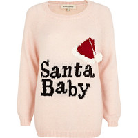 River Island Womens Pink Santa Baby knit sweater