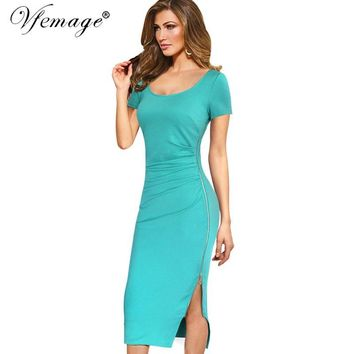 Vfemage Womens Elegant Ruched Drape Sexy V Back Side Split Zipper Lady Casual Work Office Party Bodycon Mid-Calf Midi Dress 6211