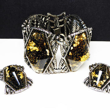 Wide Lucite Bracelet & Earrings Set - Black and Gold Glitter - Modernist Twisted Metal Links - Huge Chunky Vintage 1950s 1960s Demi Jewelry