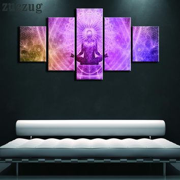 5 Piece Framed or Unframed Meditation Zen Buddhism Oil on Canvas Wall Art  - 2 Size Options