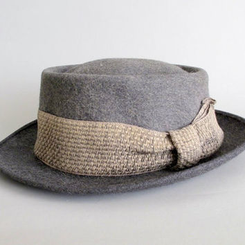 Vintage 1950s MENS Hat  50s Grey Pork Pie Fedora by RaleighVintage