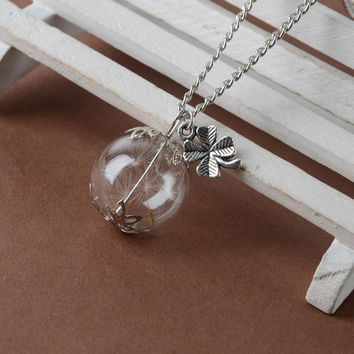 Real Dandelion Seeds In Silver Glass Wish  Bottle Necklace - Free Shipping