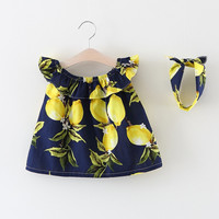 Cotton Baby Girls Ruffles Dress Clothes With Headband Solid Lemon Pattern Summer Casual Infant Kids Girls Princess Dress 3M-24M