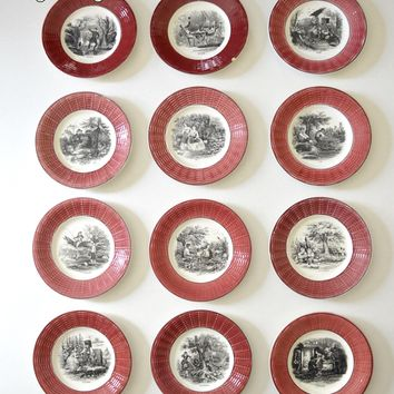 RARE France Black Transferware French Country Cottage Plate Set 12 Months of the Year Burgundy Basketweave Border