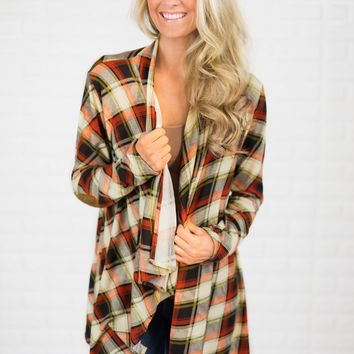 Fall Party Plaid Cardigan