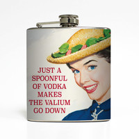 Humor Alcohol Flask Spoonful of Vodka Liquid Courage Mary Poppins Ephemera 21st Birthday Gift Stainless Steel 6 oz Liquor Hip Flask LC-1439