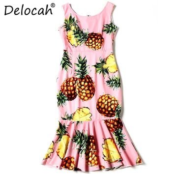 Delocah Summer Fashion Designer Dress Women's Sleeveless Casual fruit pineapple Printed Ruffles Elegant Mermaid Party Dress
